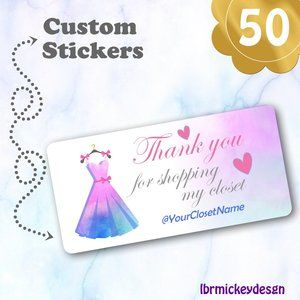50 THANK YOU  Personalized Dress Stickers